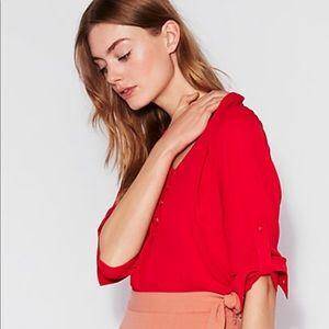 Express Women's Red Button Down Shirt